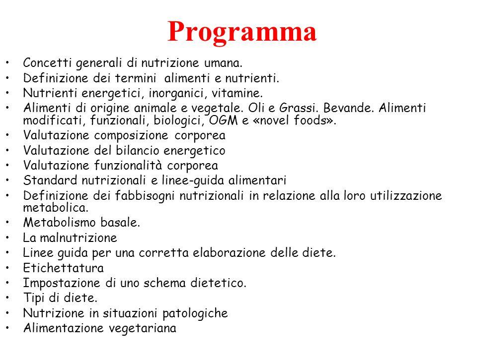 Programma Concetti generali di nutrizione umana.