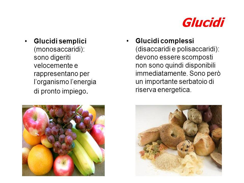 Glucidi Glucidi semplici (monosaccaridi): sono digeriti velocemente e rappresentano per l'organismo l'energia di pronto impiego.
