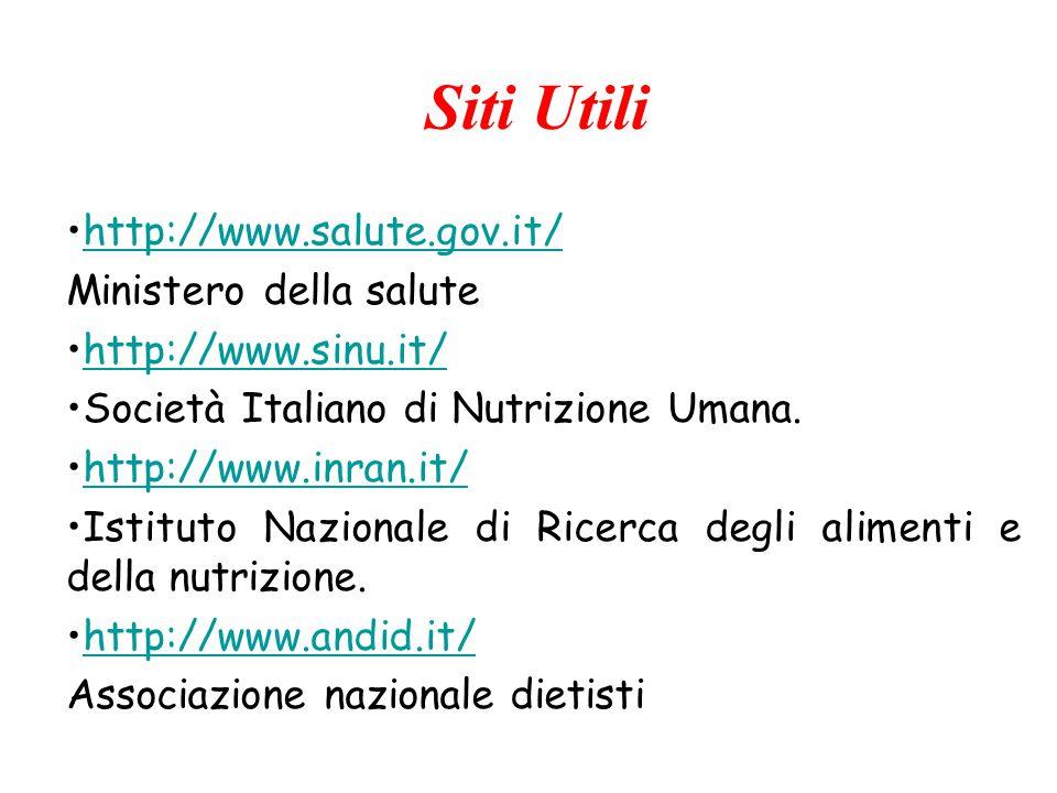 Siti Utili http://www.salute.gov.it/ Ministero della salute