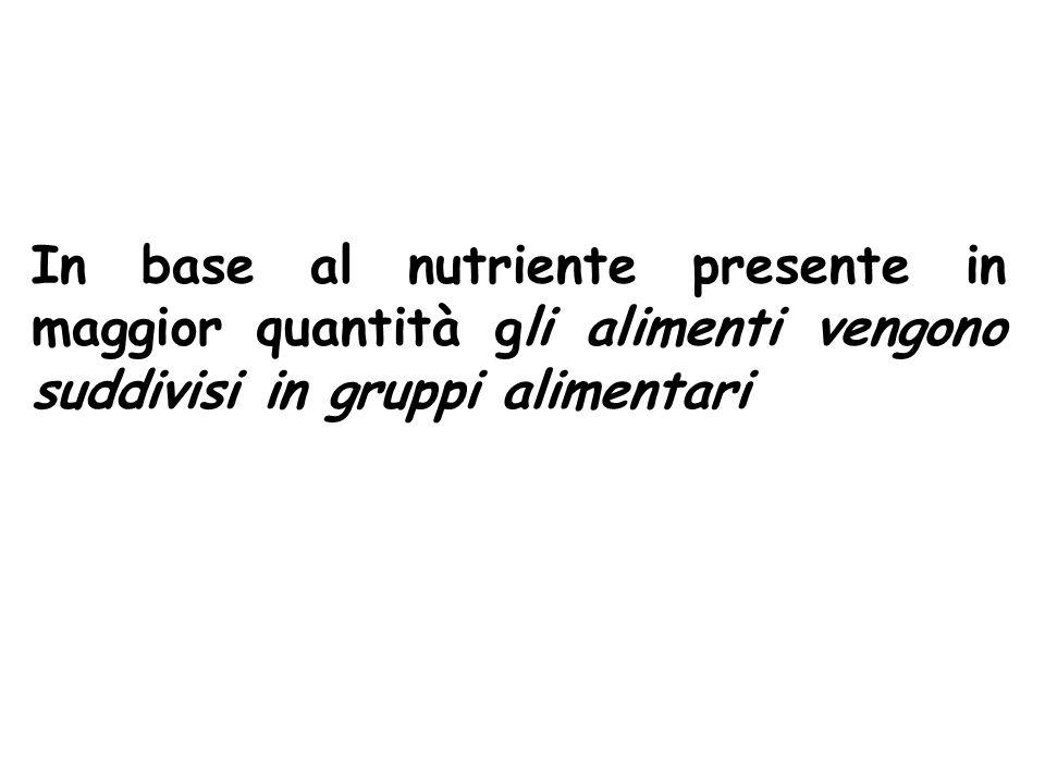 In base al nutriente presente in maggior quantità gli alimenti vengono suddivisi in gruppi alimentari