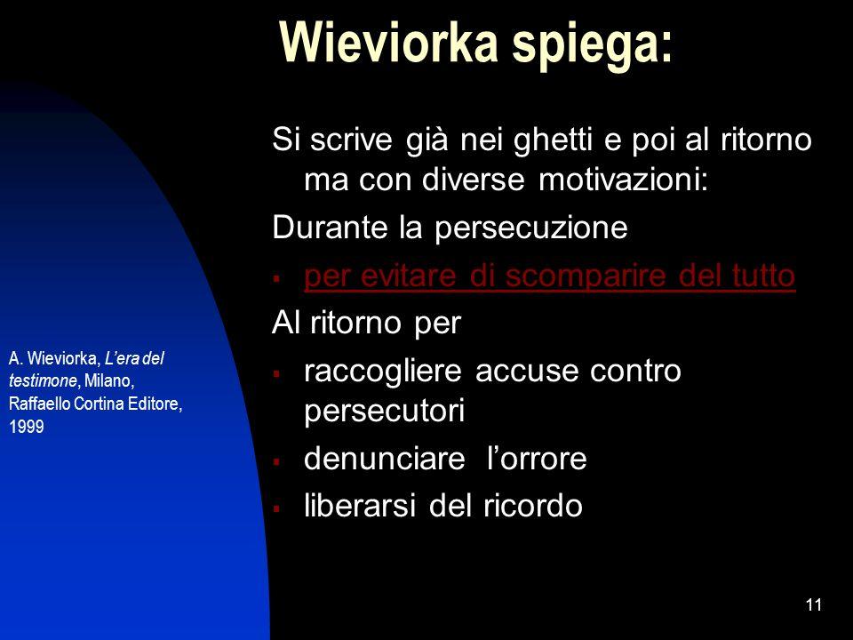 Wieviorka spiega: Si scrive già nei ghetti e poi al ritorno ma con diverse motivazioni: Durante la persecuzione.
