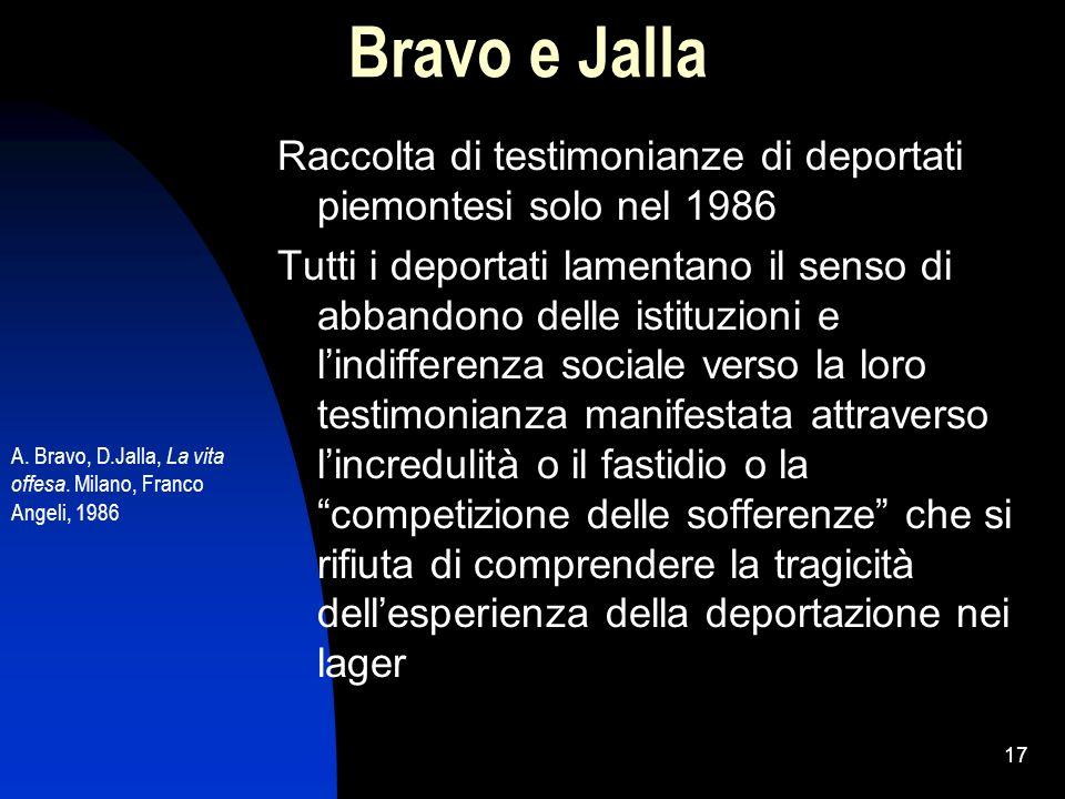 Bravo e Jalla Raccolta di testimonianze di deportati piemontesi solo nel 1986.