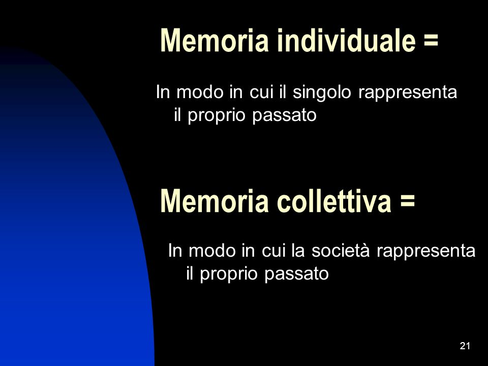 Memoria individuale = Memoria collettiva =