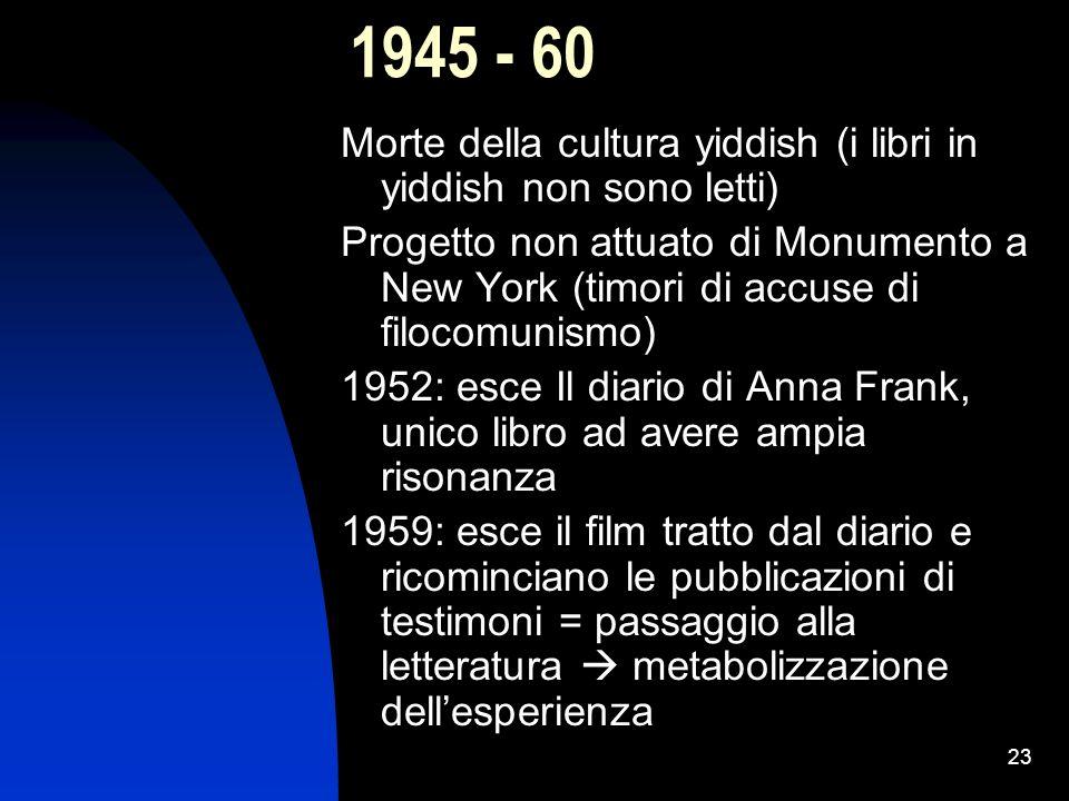 1945 - 60 Morte della cultura yiddish (i libri in yiddish non sono letti)