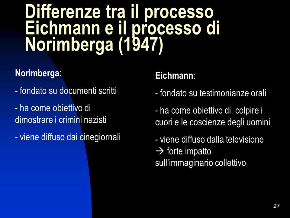 Differenze tra il processo Eichmann e il processo di Norimberga (1947)