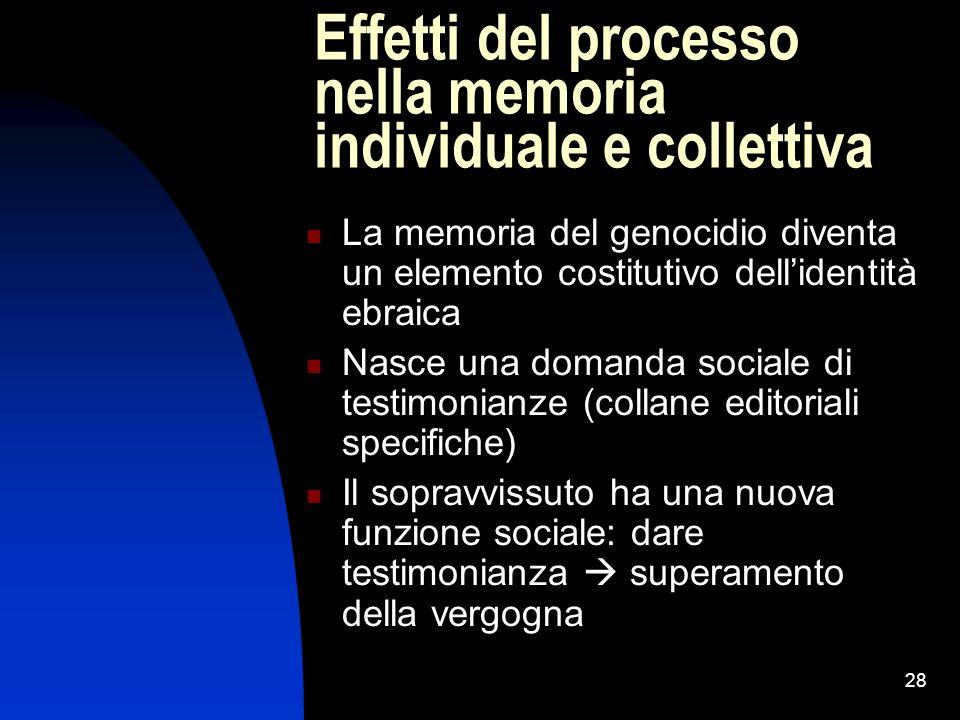 Effetti del processo nella memoria individuale e collettiva