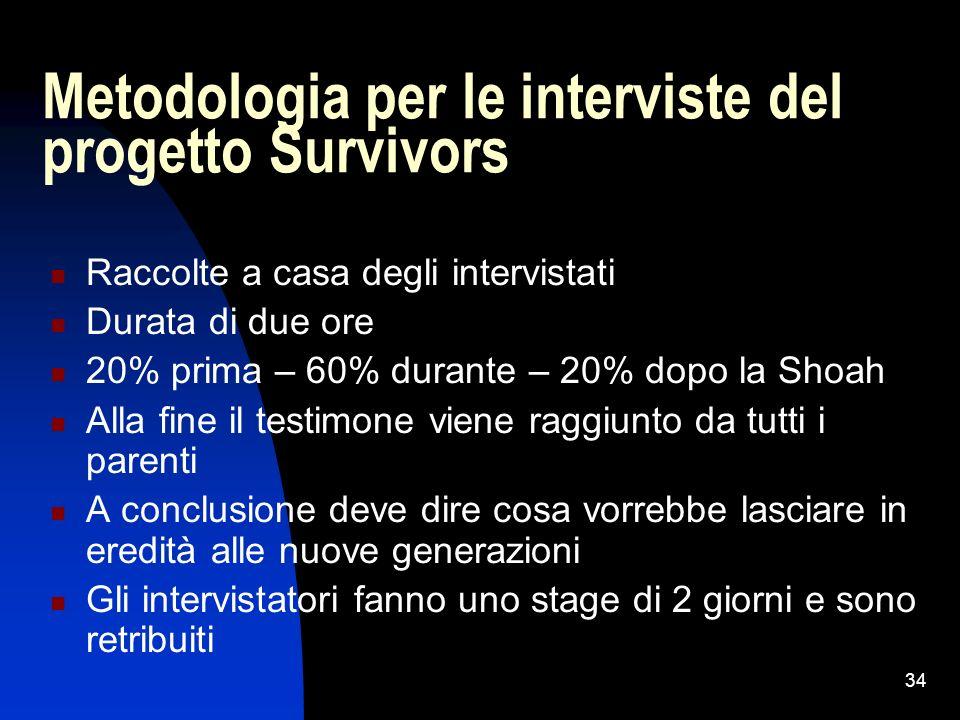 Metodologia per le interviste del progetto Survivors