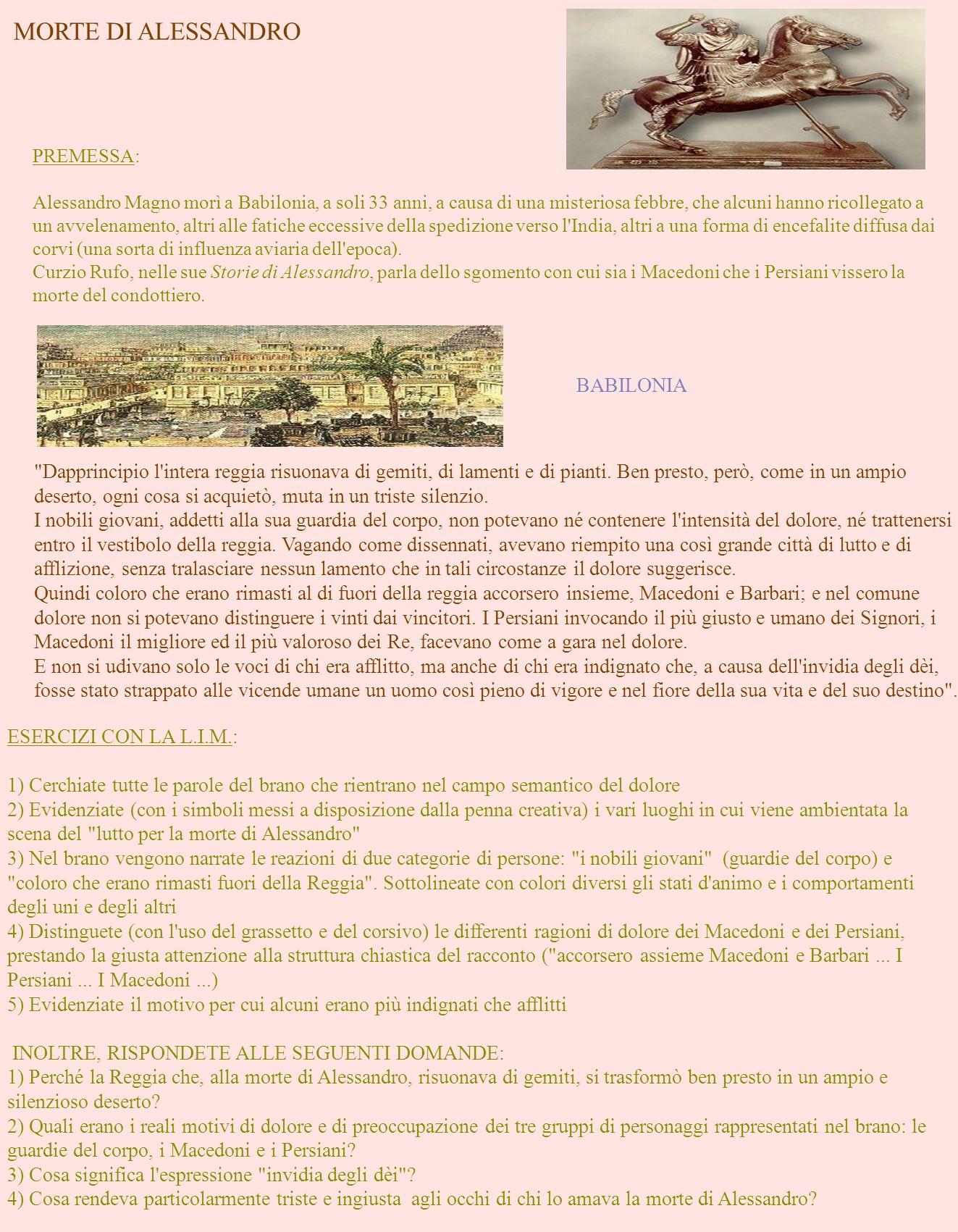 MORTE DI ALESSANDRO BABILONIA