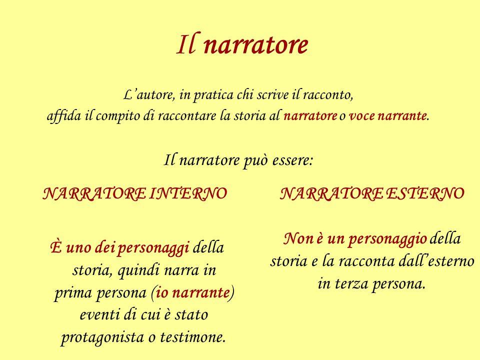 Il narratore Il narratore può essere: NARRATORE INTERNO