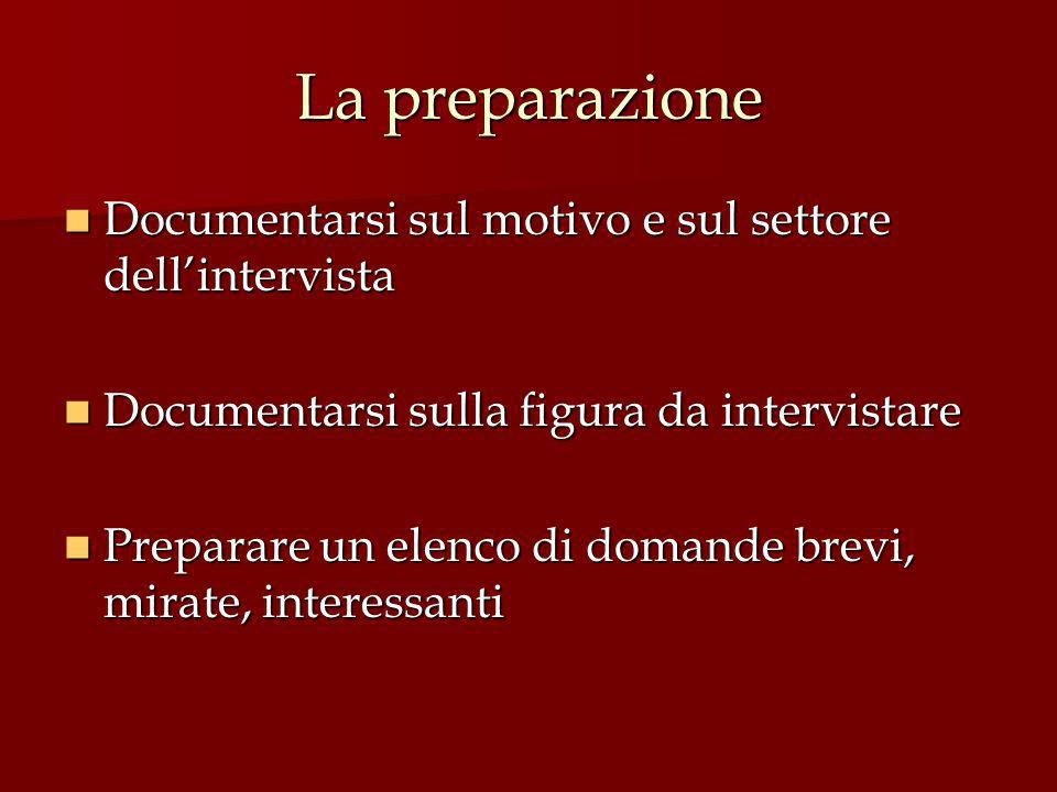 La preparazione Documentarsi sul motivo e sul settore dell'intervista