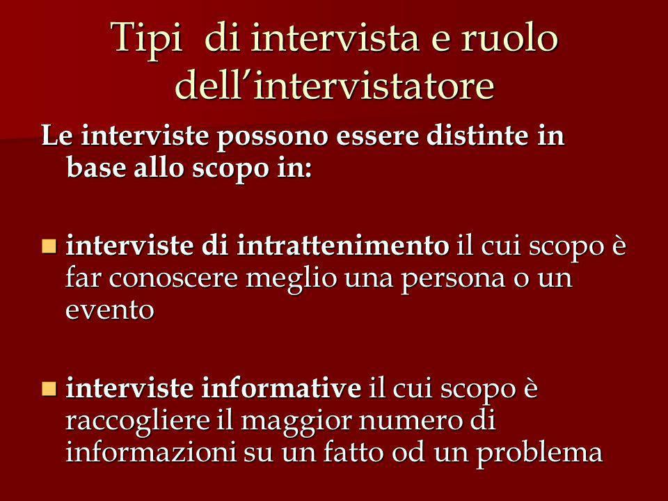Tipi di intervista e ruolo dell'intervistatore