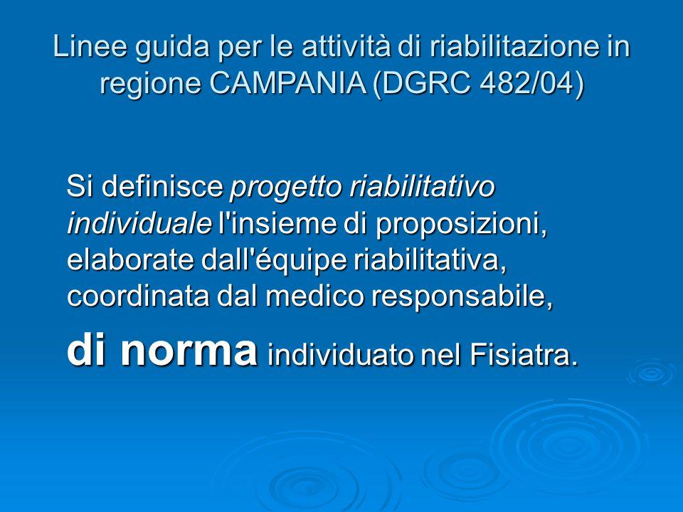 Linee guida per le attività di riabilitazione in regione CAMPANIA (DGRC 482/04)