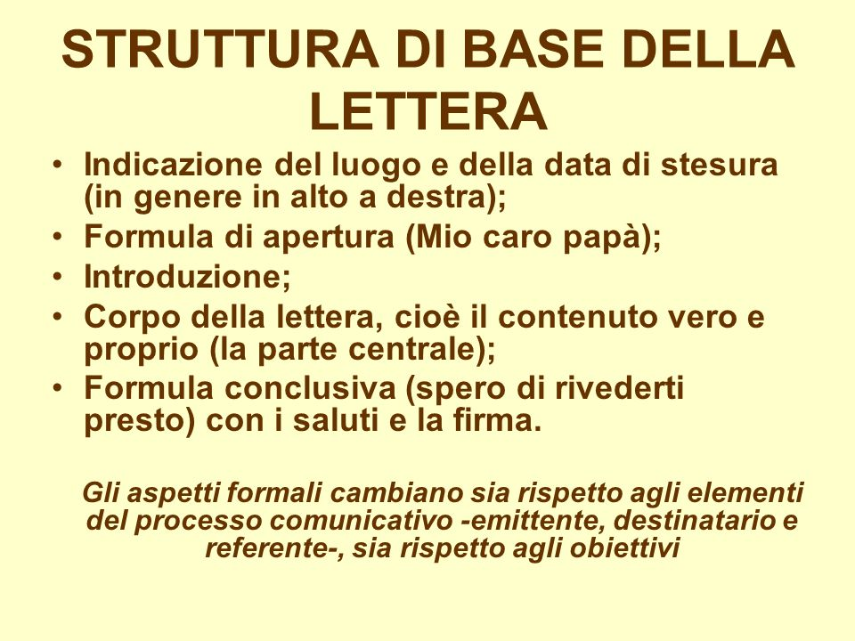 STRUTTURA DI BASE DELLA LETTERA