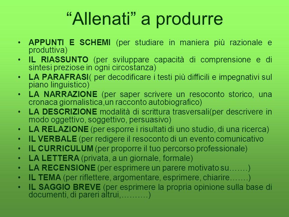 Allenati a produrre APPUNTI E SCHEMI (per studiare in maniera più razionale e produttiva)