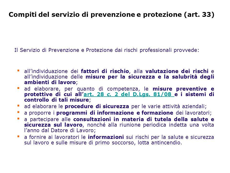 Compiti del servizio di prevenzione e protezione (art. 33)