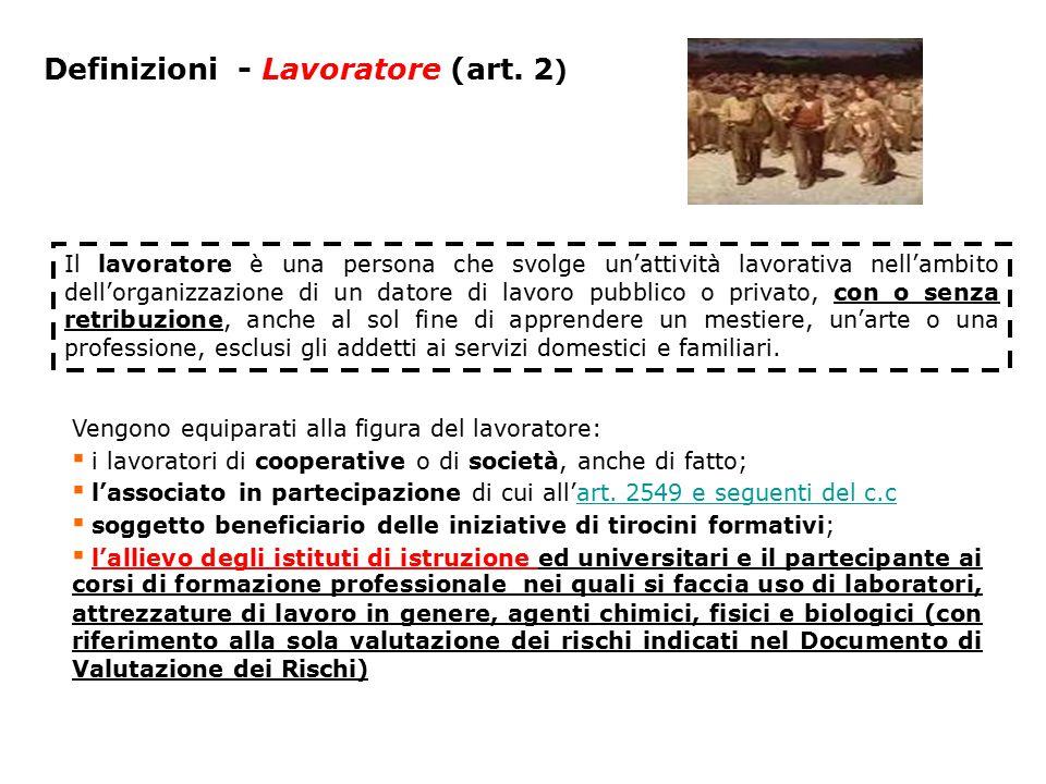 Definizioni - Lavoratore (art. 2)