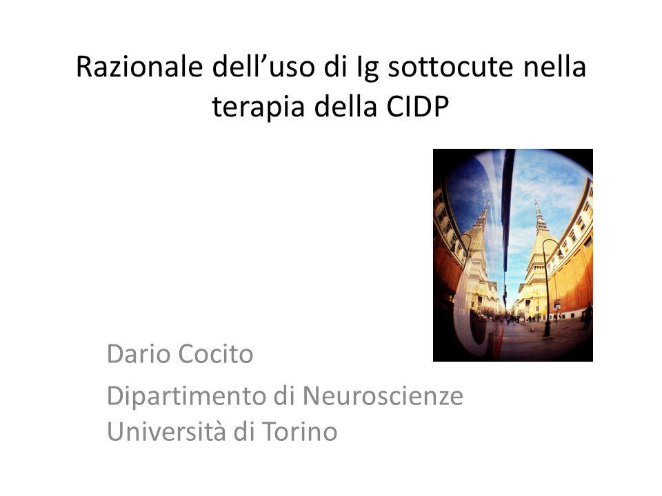 Razionale dell'uso di Ig sottocute nella terapia della CIDP