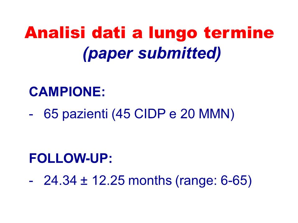 Analisi dati a lungo termine (paper submitted)