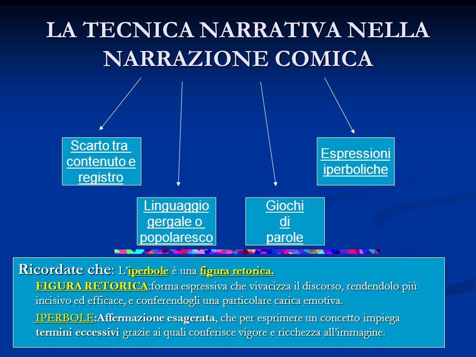 LA TECNICA NARRATIVA NELLA NARRAZIONE COMICA