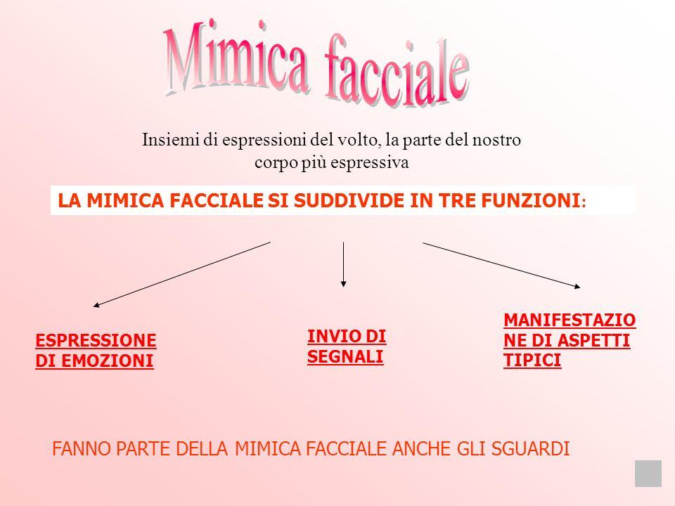 Mimica facciale Insiemi di espressioni del volto, la parte del nostro corpo più espressiva. LA MIMICA FACCIALE SI SUDDIVIDE IN TRE FUNZIONI: