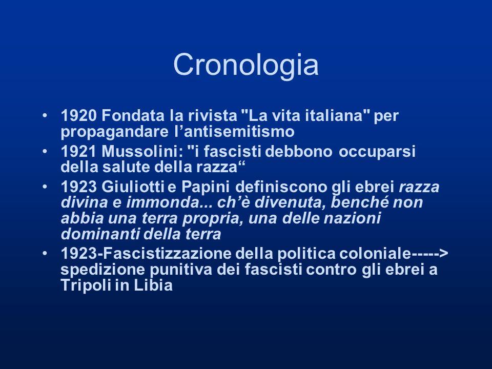Cronologia 1920 Fondata la rivista La vita italiana per propagandare l'antisemitismo.
