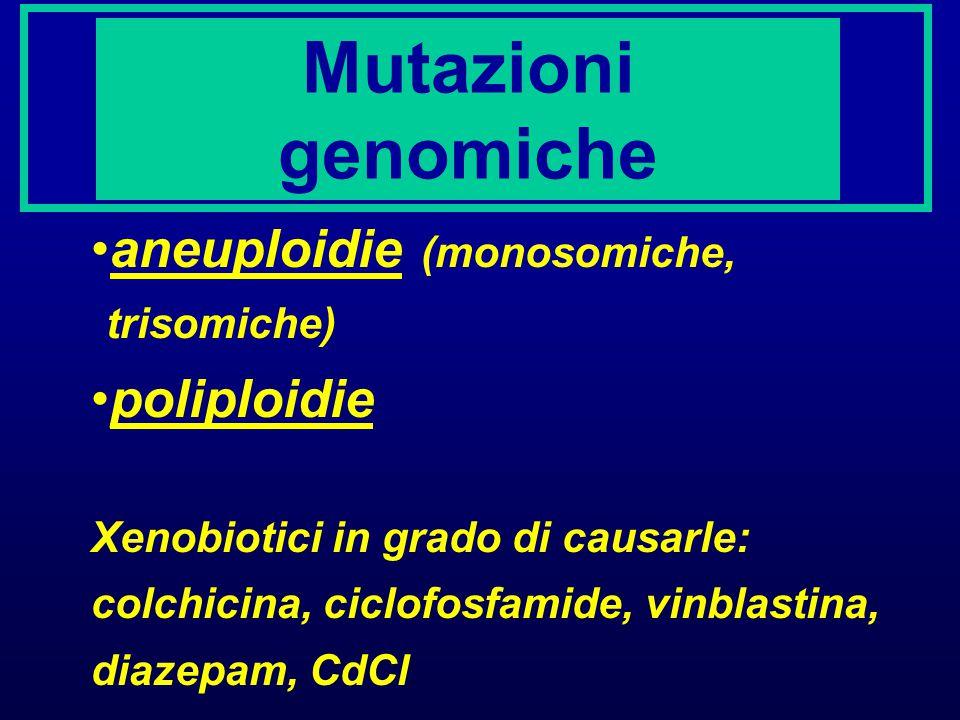 Mutazioni genomiche aneuploidie (monosomiche, trisomiche) poliploidie