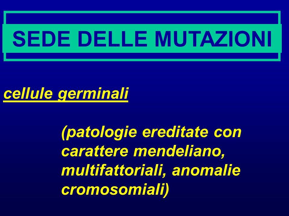 SEDE DELLE MUTAZIONI cellule germinali
