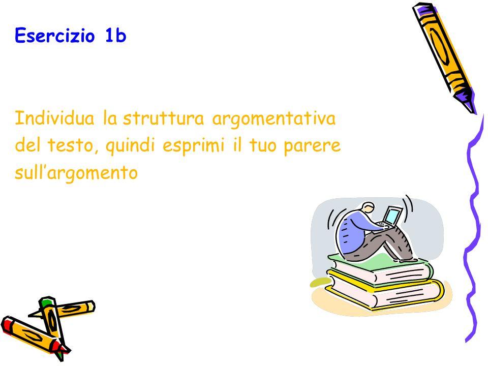Esercizio 1b Individua la struttura argomentativa.