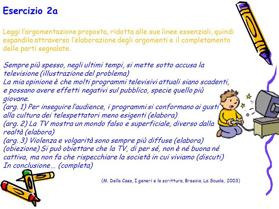 Esercizio 2a Leggi l'argomentazione proposta, ridotta alle sue linee essenziali, quindi.