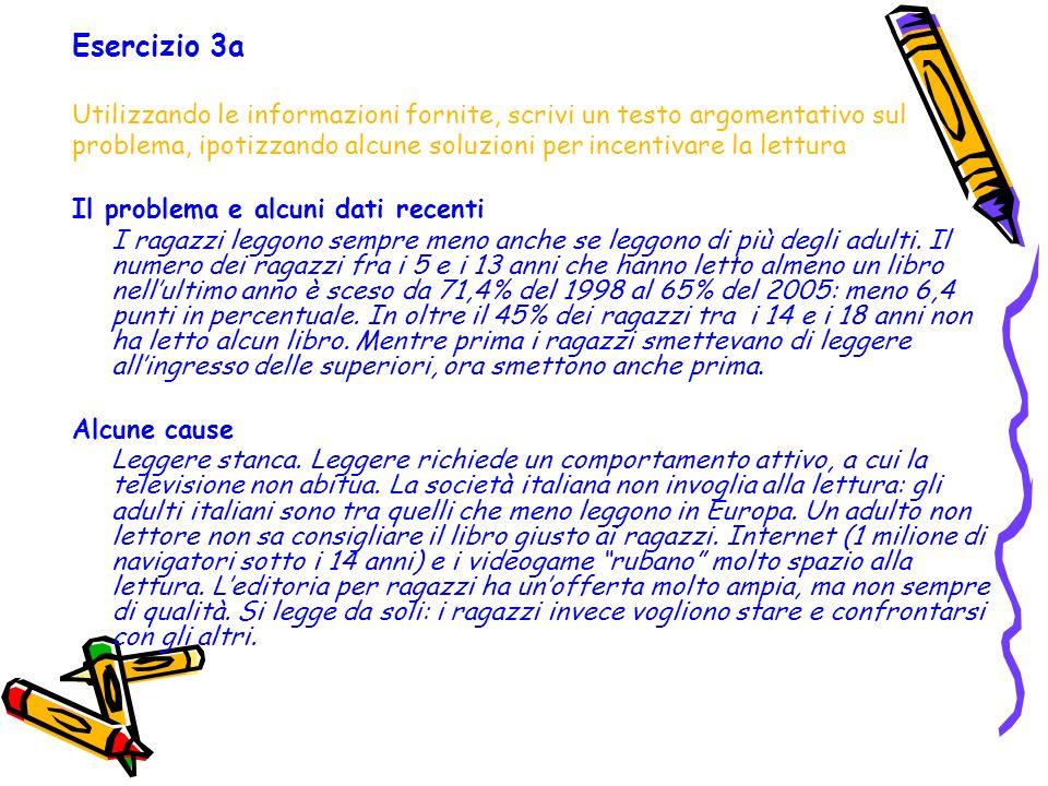 Esercizio 3a Utilizzando le informazioni fornite, scrivi un testo argomentativo sul.