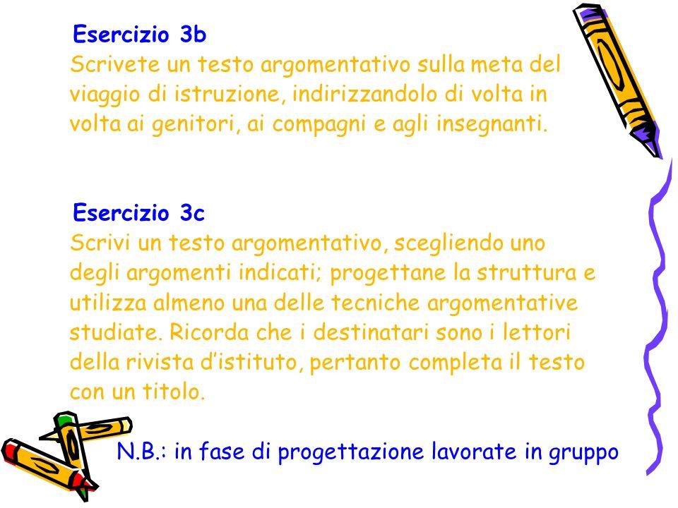 Esercizio 3b Scrivete un testo argomentativo sulla meta del. viaggio di istruzione, indirizzandolo di volta in.
