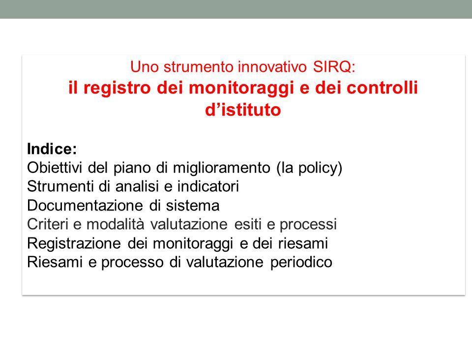il registro dei monitoraggi e dei controlli d'istituto