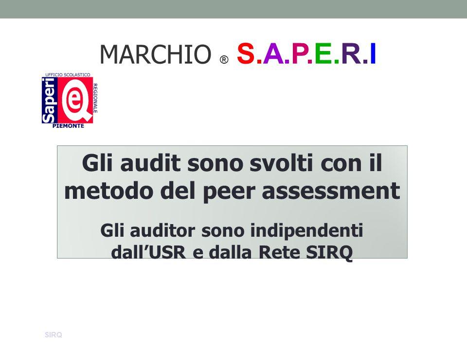 MARCHIO ® S.A.P.E.R.I Gli audit sono svolti con il metodo del peer assessment. Gli auditor sono indipendenti dall'USR e dalla Rete SIRQ.