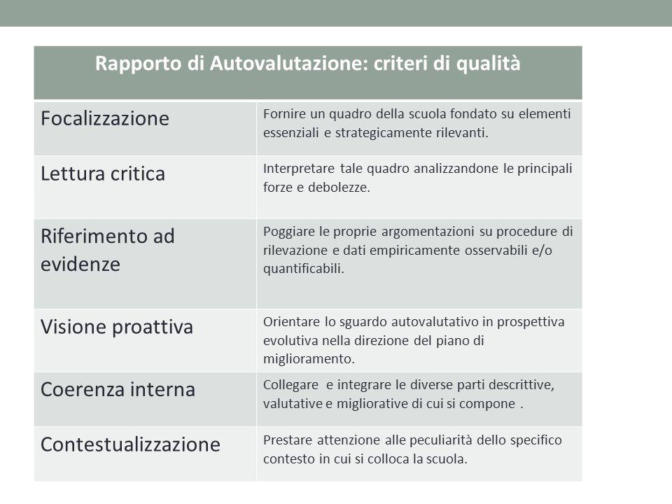 Rapporto di Autovalutazione: criteri di qualità
