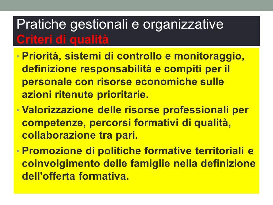 Pratiche gestionali e organizzative Criteri di qualità