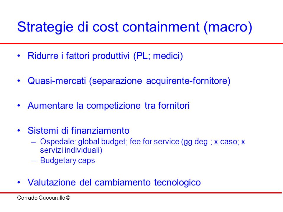 Strategie di cost containment (macro)