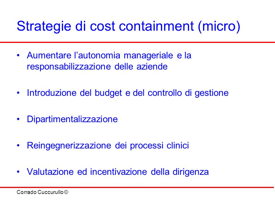 Strategie di cost containment (micro)