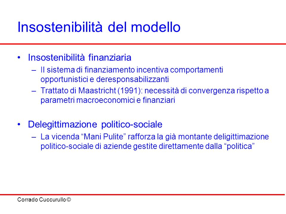 Insostenibilità del modello