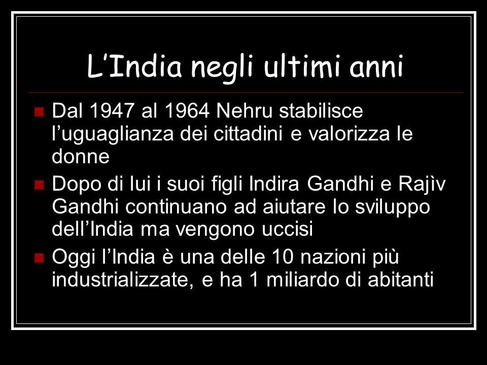 L'India negli ultimi anni