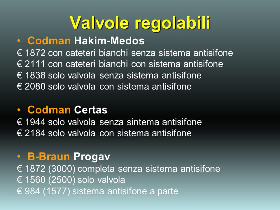Valvole regolabili Codman Hakim-Medos Codman Certas B-Braun Progav