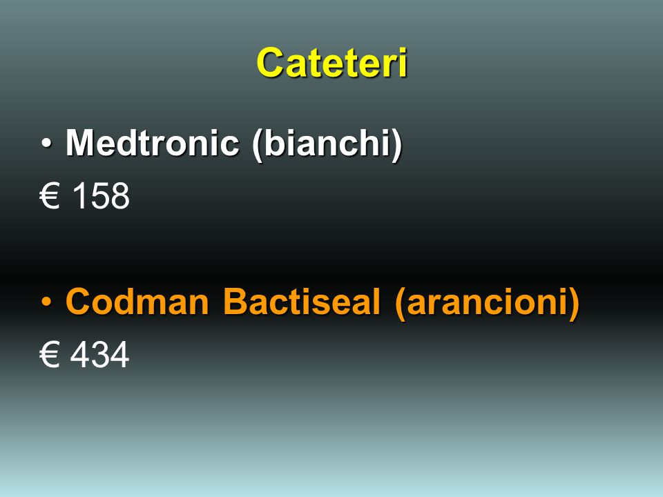 Cateteri Medtronic (bianchi) € 158 Codman Bactiseal (arancioni) € 434