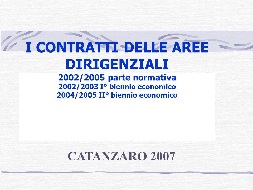 I CONTRATTI DELLE AREE DIRIGENZIALI 2002/2005 parte normativa 2002/2003 I° biennio economico 2004/2005 II° biennio economico