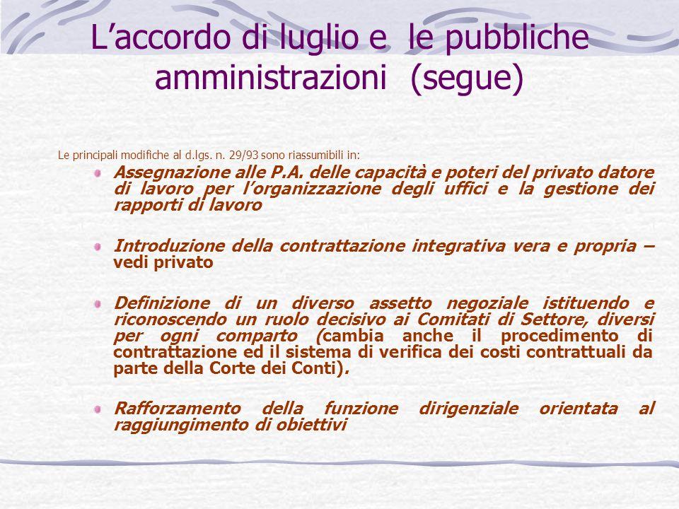L'accordo di luglio e le pubbliche amministrazioni (segue)