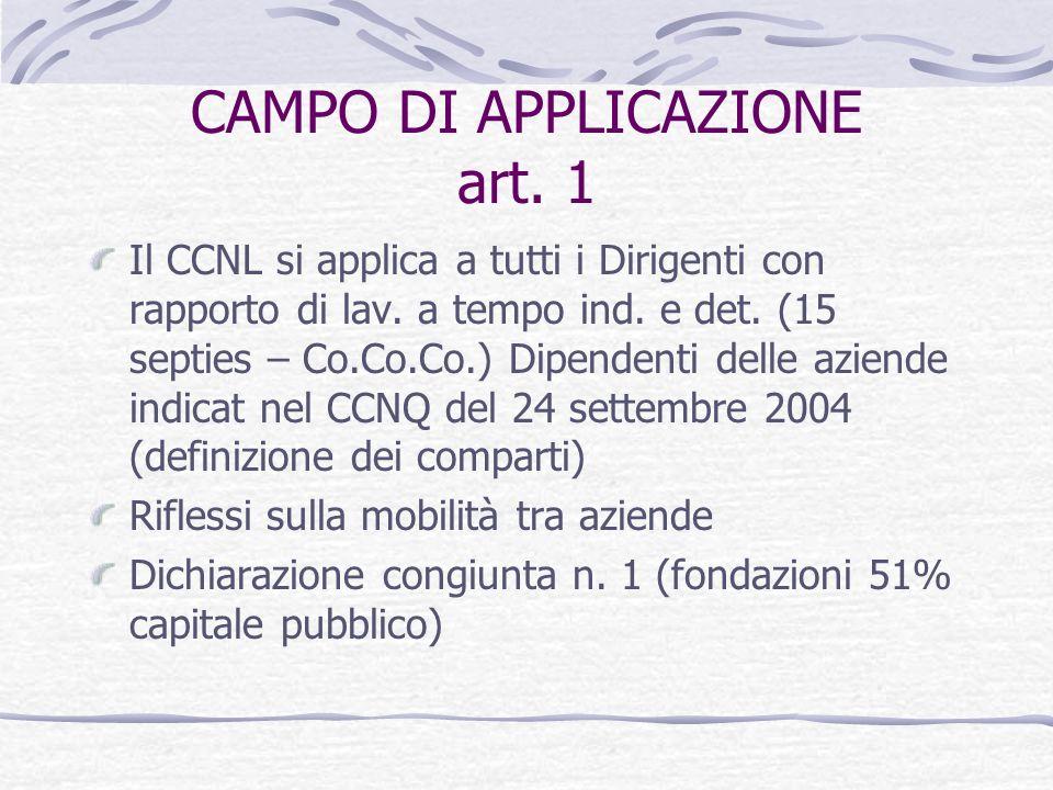 CAMPO DI APPLICAZIONE art. 1