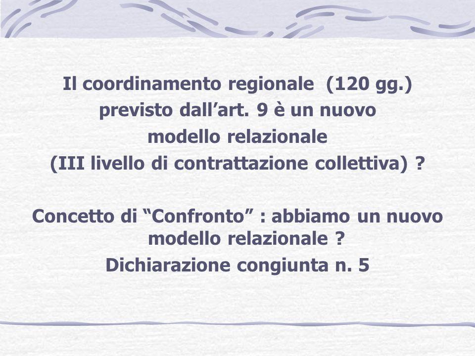 Il coordinamento regionale (120 gg.) previsto dall'art. 9 è un nuovo