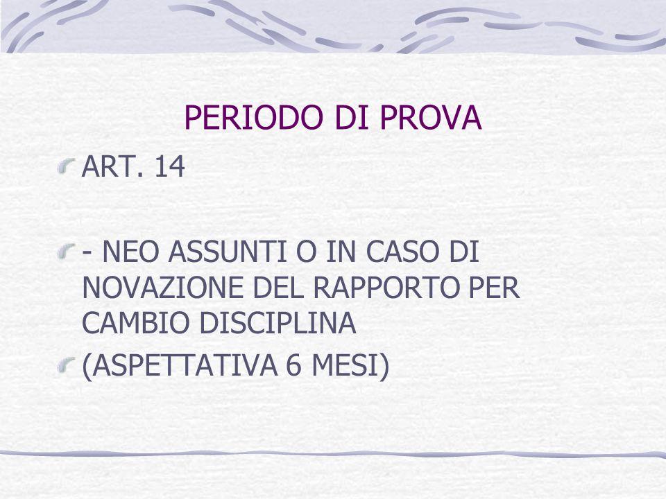 PERIODO DI PROVA ART. 14. - NEO ASSUNTI O IN CASO DI NOVAZIONE DEL RAPPORTO PER CAMBIO DISCIPLINA.