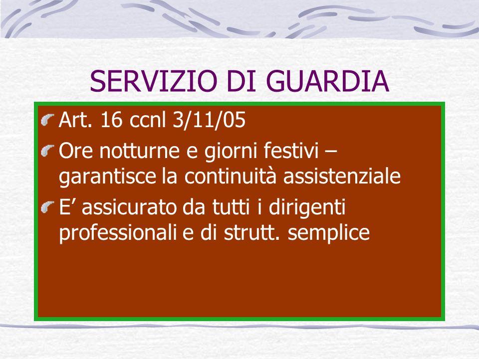 SERVIZIO DI GUARDIA Art. 16 ccnl 3/11/05