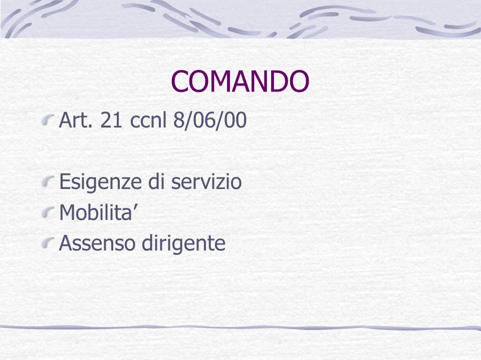 COMANDO Art. 21 ccnl 8/06/00 Esigenze di servizio Mobilita'