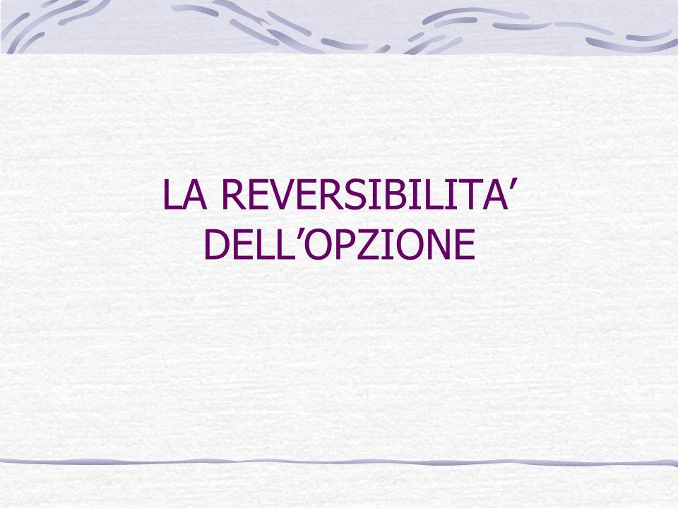 LA REVERSIBILITA' DELL'OPZIONE