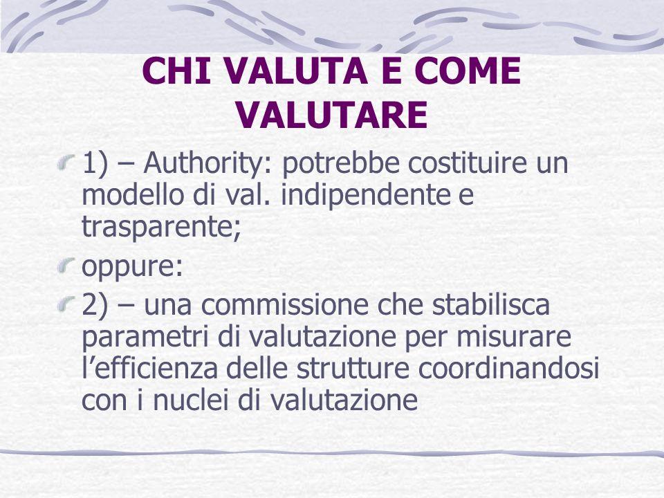 CHI VALUTA E COME VALUTARE